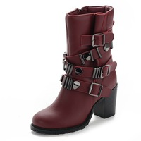 The new European and American high-heeled winter boots, heavy-bottomed leather high-heeled Martin boots female boots wool women
