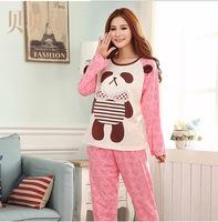 Beibei li qiu dong season new cute cartoon cotton corduroy leisurewear woman sleeping clothes long suit