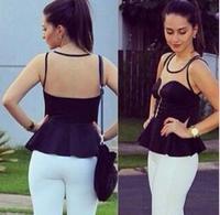 2014 European style Sexy Slim chiffon gauze wrapped chest sleeveless black shirt perspective tops EL-1021-05