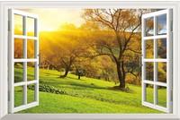 New  Pattern Tree Landscape PVC Fake Window Sticker 70*46cm  Art Mural Home Decor Removable Wall Sticker fj-33