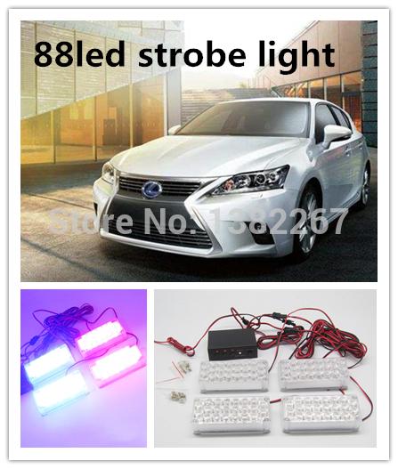 New arrival High quality 4*22led 88 LED Car Auto Roof Flash Strobe Emergency Warning Police Light 88LED Red Blue White(China (Mainland))