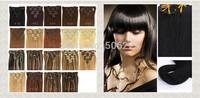 "16"" 18"" 20"" 22"" 100% women Clip in hair extensions 70g  #2 dark brown (#1 #4...#613)"
