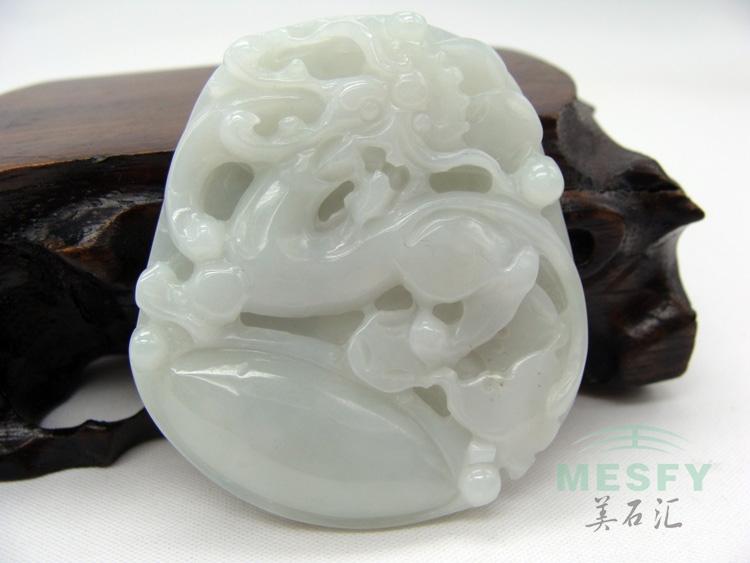 Certified Natural Burmese Emerald Jadeite Dragon Jade Pendant 34.11 g Good Carving Skills Best Gifts Free Shipping(China (Mainland))