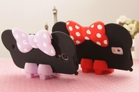High Heel Shoes Stand + Silicon Case Cover For Samsung S4 I9500/S5 I9600 Bow Minnie Mouse Cartoon Phone Shell