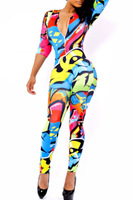 2014 New Fashion Rompers Womens Jumpsuit Sexy V-Neck three quarter sleeve Colorful Graffiti Skintight Long Jumpsuit LC6770