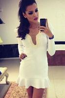 2014  New fashion women Autumn Dress Party Dresses Fabulous Deep V Long Sleeve Pearl Neckline Skater Mermaid Dress LC21744