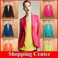 Freeshipping 2014 New Fashion Suit Women Coat Foldable Basic Jacket Long Sleeves Outerwear Coats Jackets Single Button Jackets