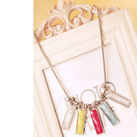 Cheap Hot Sale Rectangle Supernatural Radiance Semi-Precious Stone Short Necklace For Clothes