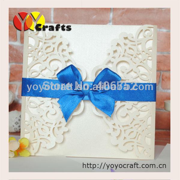 Corte a Laser luxuoso cartão do convite do casamento(China (Mainland))