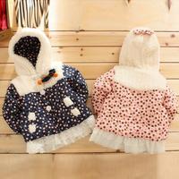 Kinder Girls Plush Hooded Lace Jacket Cherry Pattern Overcoat Outwear
