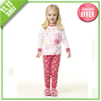 11.11big wholesle  2014 winter pink baby girls cotton pajamas two-pieces suit Free shipping (1set) retail 3~7age kid apparel