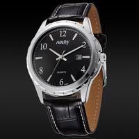 Hot Sale Brand Fashion Clock Table Watch Nary Men Leather Strap Analog Quartz Wristwatch Calendar Watch Relogio Masculino 6109