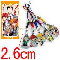 100sets/lot Anime Cartoon Gekkan Shoujo Nozaki-kun Metal Figures Pendants Phone rope