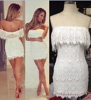 2014 Summer  Dresses New Fashion Sexy Strapless Hollow Out White Lace Dress Elegant Vintage Women Bodycon Dress A324-90