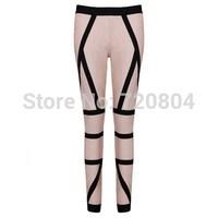 Free shipping 2014 New arrival Women's beige and black colorblock  long pants Bandage Dress HL  Evening porm Dresses HL