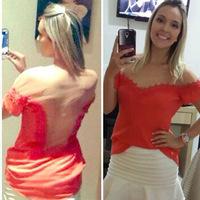 2014 European and American new red chiffon shirt white gauze stitching short-sleeved Slim Sexy tops EL-1021-08