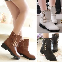 Women Flat Heel Clip Up Mid Calf Round Head Martin Boots Punk Ankle Boots Shoes with Rivet #65737
