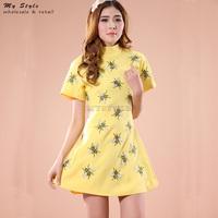 Fashion New 2014 Autumn Elegant Slim Thin Women's Dress Casual Print Animal Sweet Work Wear Yellow A-Line Women Dress 2027
