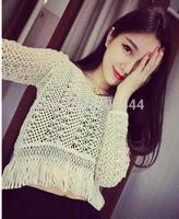 2014 slim short design cutout long-sleeve pullover sweater