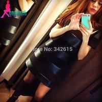 Brand Gagaopt woman one piece dress 2014 personality PU patchwork fashion female dress black short autumn sexy dress