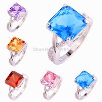 Wholesale Fashion Gift Tourmaline & Morganite & Garnet & Pink & Blue Topaz & Rainbow Topaz 925 Silver Ring Size 7 8 9 10