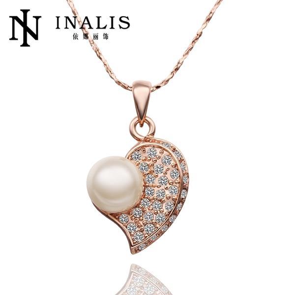QYX Fashion Jewlery 2015 Women Rose Gold Plated 2015 Fashion Necklace Free Shipping N603