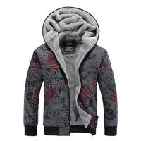 2014 young men's sweater men Hitz trade plus velvet warm jacket men hooded sweater men