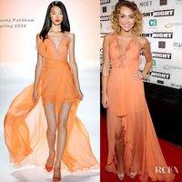 Custom Made Miley Cyrus Asymmetrical Halter Lace Chiffon Orange Celebrity Dresses Designer  Free Shipping