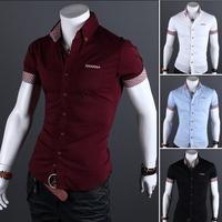 M-XXXL 2014  Men Short Sleeve Lapel Plaid Shirts Men's Casual Slim Fit plaid Shirt Plus Size Male Shirt Mens casual Shirts