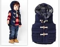 2014 New Winter Kids Vest Cotton Casual Fashion Hooded Boys Waistcoat Warm 5 pcs / lot 1307