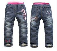 CP140 Free shipping 2014 new  brand  K.K-RABBIT girls thick winter warm pants baby girls jeans children warm trousers retail