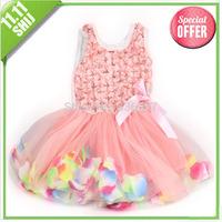 11.11big wholesale 1pcs retail  summer girls dress rose petal hem dress color cute girls vest dress 2-5 years children's apparel