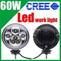 Super Power 7 inch 60W White Led car fog light 4x4 4WD Offroads Led work light lamp 12v-24v Spot beam Headlights,Top quality