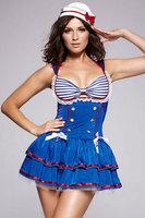 2014 NEW Sexy  Sailors & Sea Costumes Sleeveless Sassy Sailor ball Dress Costume LC8848