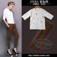 2014 autumn fashion white print top long-sleeve twinset female
