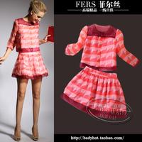2014 autumn women's fashion o-neck slim three quarter sleeve one-piece dress twinset short skirt female