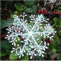 30pcs/lot White Plastic Christmas Snowflake Sheet Ornament Merry Xmas Tree House Decoration With Shining 10cm