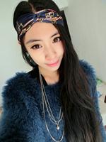 2015 designed girls dark blue chain print head band
