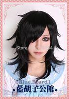 Tomoko Kuroki Black Anime Cosplay Wig  Natural Kanekalon no Lace Front hair wigs Free deliver