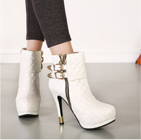 Ankle Boots Heels HOT New Fashion Platform High Heeled Double Buckle Women Pumps Shoes Motorcycle Boots BLACK WHITE 8