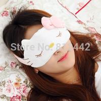 FREE SHIPPING New Plush Eyepatch Women Health Care Kawaii Cute Cartoon Pink Hello Kitty Sleep Mask For Sleeping Eye Blindfold