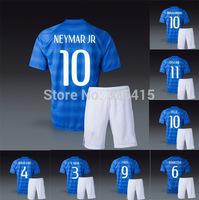 2014 15 Neymar silva luiz pele oscar ronaldinho pele marcelo red ronaldo kaka national away blue soccer uniforms football kits