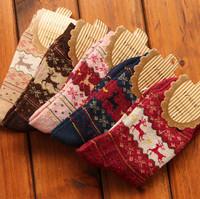 New 2014 Christmas Snowflake Deer Design Womens Wool Socks Warm Winter Comfortable