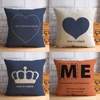 43 * 43cm cotton linen pillow lumbar pillow new house printing sofa pillow cushions newlywed couple wedding room gift  /731