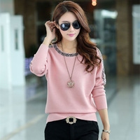 2014 loose plus size solid color Knitted Pullovers o-neck long-sleeve sweater female Cardigan 5colors S-XXXL
