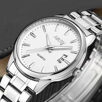Brand Nary Fashion Quartz Watches Men Business Calendar Watch Man Full Steel Watch Male relogio masculino clock 6115