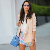2014 women fashion casual blazers brand beige long jackets top freeshipping