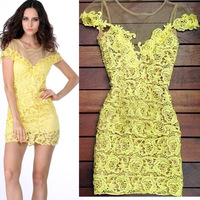 2014 Hot Sale Yellow lace mini dress atacado roupas femininas Party Dress S M L XL lady bodycon dress Free Shipping