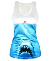 Spring Women Tank Tops Shark Vs Mermaid Print Adventure Time Camisole Free Shipping W4447