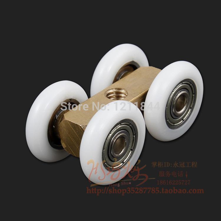 Mute shower room sliding door wheels pulley roller wheels copper wheels broadened big shower door roller for shower room(China (Mainland))